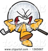 Vector Illustration of a Mad Cartoon Golf Ball Sports Mascot Breaking a Club over His Knee by Toons4Biz
