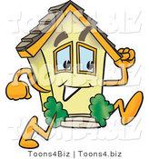 Vector Illustration of a Mobile Cartoon Home Mascot Running Fast by Toons4Biz