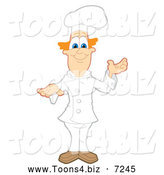Vector Illustration of a Presenting Red Haired Chef by Toons4Biz
