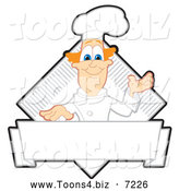 Vector Illustration of a Presenting Red Haired Chef Logo or Sign by Toons4Biz