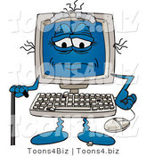 Vector Illustration of a Really Old Cartoon Computer Mascot with a Cane by Toons4Biz