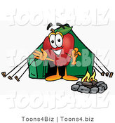 Vector Illustration of a Red Apple Mascot Camping with a Tent and a Fire by Toons4Biz