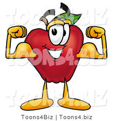 Vector Illustration of a Red Apple Mascot Flexing His Arm Bicep Muscles by Toons4Biz