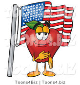 Vector Illustration of a Red Apple Mascot Giving the Pledge of Allegiance in Front of an American Flag by Toons4Biz