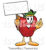 Vector Illustration of a Red Apple Mascot Holding a Blank White Sign over His Head by Toons4Biz