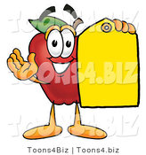 Vector Illustration of a Red Apple Mascot Holding a Blank Yellow Price Tag for a Sale by Toons4Biz