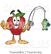 Vector Illustration of a Red Apple Mascot Holding a Fish on a Fishing Pole by Toons4Biz