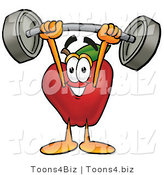 Vector Illustration of a Red Apple Mascot Holding a Heavy Barbell Above His Head by Toons4Biz