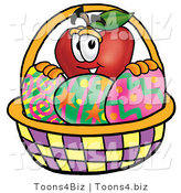 Vector Illustration of a Red Apple Mascot in an Easter Basket Full of Decorated Easter Eggs by Toons4Biz