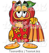 Vector Illustration of a Red Apple Mascot in Orange and Yellow Snorkel Gear by Toons4Biz