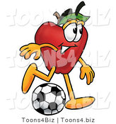 Vector Illustration of a Red Apple Mascot Kicking a Soccer Ball by Toons4Biz