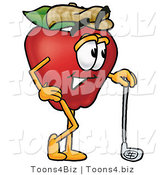 Vector Illustration of a Red Apple Mascot Leaning on a Golf Club While Golfing by Toons4Biz