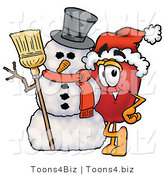 Vector Illustration of a Red Apple Mascot Leaning on a Snowman on Christmas by Toons4Biz