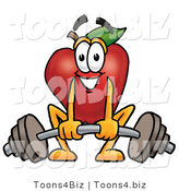 Vector Illustration of a Red Apple Mascot Lifting a Heavy Barbell by Toons4Biz