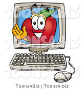 Vector Illustration of a Red Apple Mascot on a Desktop Computer Screen by Toons4Biz