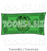 Vector Illustration of a Red Apple Mascot on a Green Dollar Bill by Toons4Biz