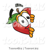 Vector Illustration of a Red Apple Mascot Peeking Around a Corner and Spying on Someone by Toons4Biz