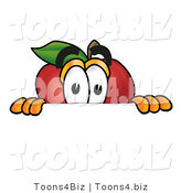 Vector Illustration of a Red Apple Mascot Peeking over a Horizontal Surface by Toons4Biz