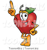 Vector Illustration of a Red Apple Mascot Pointing Upwards by Toons4Biz