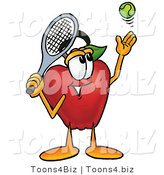 Vector Illustration of a Red Apple Mascot Preparing to Hit a Tennis Ball by Toons4Biz
