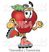 Vector Illustration of a Red Apple Mascot Roller Blading on Inline Skates by Toons4Biz