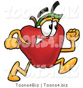 Vector Illustration of a Red Apple Mascot Running in a Hurry by Toons4Biz