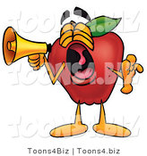Vector Illustration of a Red Apple Mascot Screaming into a Megaphone by Toons4Biz