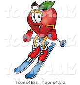 Vector Illustration of a Red Apple Mascot Skiing Downhill by Toons4Biz