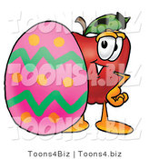 Vector Illustration of a Red Apple Mascot Standing Beside an Easter Egg by Toons4Biz