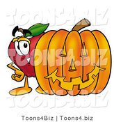 Vector Illustration of a Red Apple Mascot Standing with a Carved Jackolantern Halloween Pumpkin by Toons4Biz