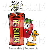 Vector Illustration of a Red Apple Mascot Standing with a Stick of Dynamite Explosives by Toons4Biz