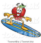 Vector Illustration of a Red Apple Mascot Surfing on a Blue and Yellow Surfboard by Toons4Biz