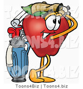 Vector Illustration of a Red Apple Mascot Swinging His Golf Club While Golfing by Toons4Biz