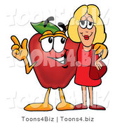 Vector Illustration of a Red Apple Mascot Talking Nutrition with a Pretty Blond Woman by Toons4Biz