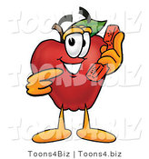 Vector Illustration of a Red Apple Mascot Talking on a Telephone by Toons4Biz