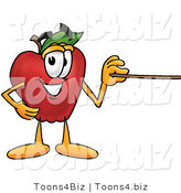 Vector Illustration of a Red Apple Mascot Using a Pointer Stick by Toons4Biz