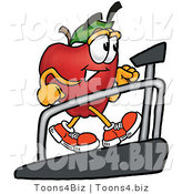 Vector Illustration of a Red Apple Mascot Walking on a Treadmill in a Fitness Gym by Toons4Biz