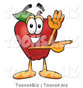 Vector Illustration of a Red Apple Mascot Waving and Pointing to the Right by Toons4Biz