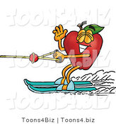 Vector Illustration of a Red Apple Mascot Waving and Water Skiing by Toons4Biz