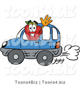 Vector Illustration of a Red Apple Mascot Waving While Driving by in a Blue Car by Toons4Biz