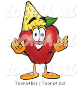 Vector Illustration of a Red Apple Mascot Wearing a Birthday Party Hat by Toons4Biz