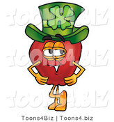 Vector Illustration of a Red Apple Mascot Wearing a Green Paddy's Day Hat with a Four Leaf Clover on It by Toons4Biz