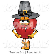 Vector Illustration of a Red Apple Mascot Wearing a Pilgrim Hat on Thanksgiving by Toons4Biz