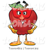 Vector Illustration of a Red Apple Mascot Wearing a Red Mask on Halloween by Toons4Biz
