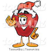 Vector Illustration of a Red Apple Mascot Wearing a Santa Hat and Waving by Toons4Biz