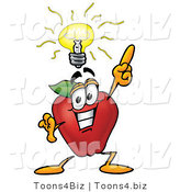 Vector Illustration of a Red Apple Mascot with a Bright Idea by Toons4Biz