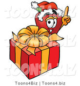 Vector Illustration of a Red Apple Mascot with a Christmas Present by Toons4Biz
