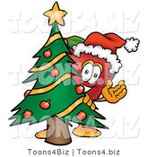 Vector Illustration of a Red Apple Mascot with a Decorated Christmas Tree by Toons4Biz