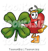 Vector Illustration of a Red Apple Mascot with a Green Four Leaf Clover on St Paddy's or St Patricks Day by Toons4Biz