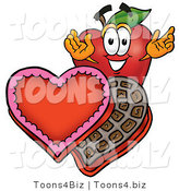 Vector Illustration of a Red Apple Mascot with an Open Box of Valentines Day Chocolate Candies by Toons4Biz
